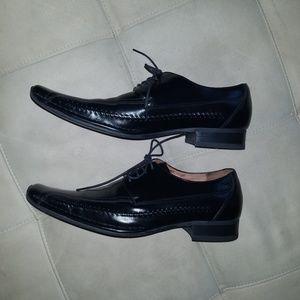 Giorgio Butini Black Leather Square Toe Dress Shoe
